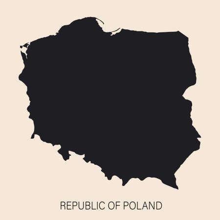 Highly detailed Poland map with borders isolated on background. Flat style Vektoros illusztráció