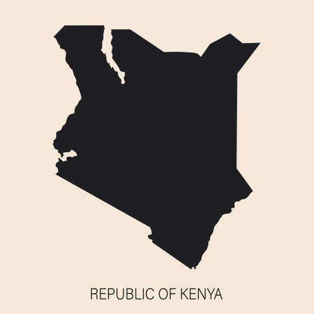 Highly detailed Kenya map with borders isolated on background. Simple icon