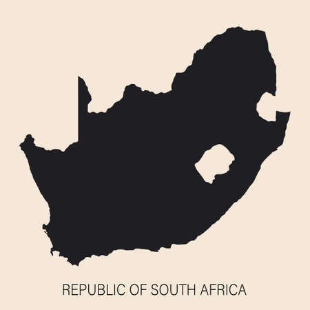 Highly detailed South Africa map with borders isolated on background. Flat style Ilustração Vetorial