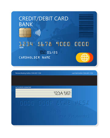Credit or debit plastic bank card for apps and websites isolated on white background
