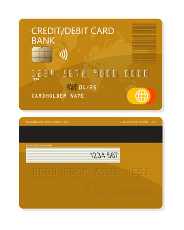 Credit or debit plastic bank card for apps and websites isolated on white background Vektoros illusztráció