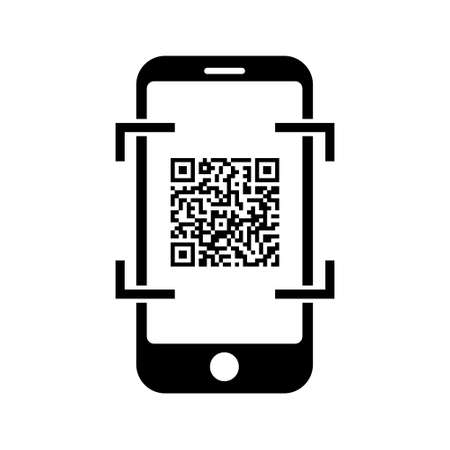 Phone icon Telephone icon symbol with QR code for app and messenger isolated on background