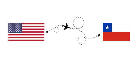 Flight and travel from USA to Chile by passenger airplane. Airplane route and country flags. Travel concept