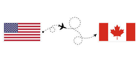 Flight and travel from USA to Canada by passenger airplane. Airplane route and country flags. Travel concept