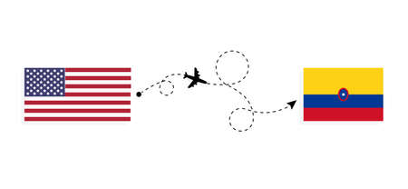 Flight and travel from USA to Colombia by passenger airplane. Airplane route and country flags. Travel concept