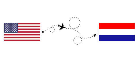 Flight and travel from USA to Croatia by passenger airplane. Airplane route and country flags. Travel concept Illusztráció