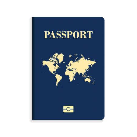 International biometric blue passport isolated on white background. International identification document