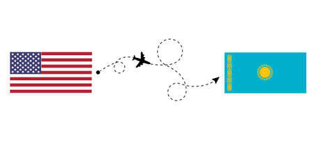 Flight and travel from USA to Kazakhstan by passenger airplane. Airplane route and country flags. Travel concept
