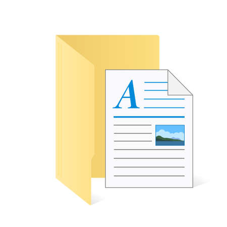 File computer folder with document icon isolated on white background. Color folder
