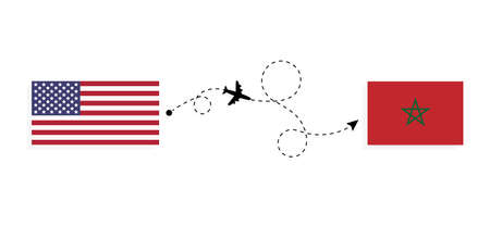 Flight and travel from USA to Morocco by passenger airplane. Airplane route and country flags. Travel concept