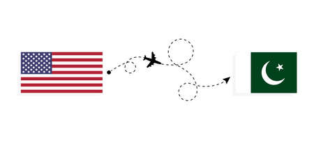 Flight and travel from USA to Pakistan by passenger airplane. Airplane route and country flags. Travel concept