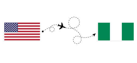 Flight and travel from USA to Nigeria by passenger airplane. Airplane route and country flags. Travel concept