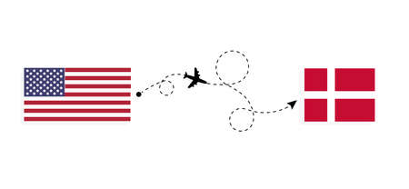 Flight and travel from USA to Denmark by passenger airplane. Airplane route and country flags. Travel concept