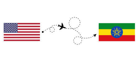 Flight and travel from USA to Ethiopia by passenger airplane. Airplane route and country flags. Travel concept