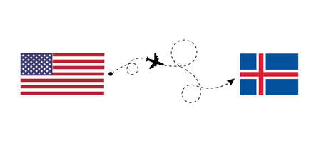 Flight and travel from USA to Iceland by passenger airplane. Airplane route and country flags. Travel concept