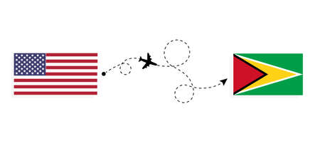 Flight and travel from USA to Guyana by passenger airplane. Airplane route and country flags. Travel concept Illusztráció