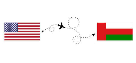 Flight and travel from USA to Oman by passenger airplane. Airplane route and country flags. Travel concept