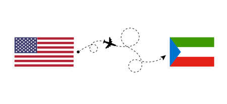 Flight and travel from USA to Equatorial Guinea by passenger airplane. Airplane route and country flags. Travel concept