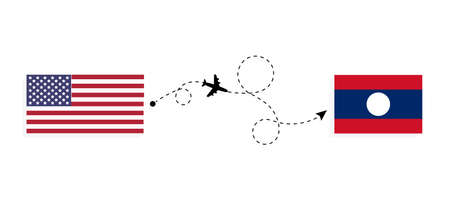 Flight and travel from USA to Laos by passenger airplane. Airplane route and country flags. Travel concept