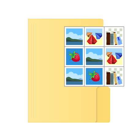 File computer folder with pictures icon isolated on white background. Color folder