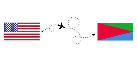 Flight and travel from USA to Eritrea by passenger airplane. Airplane route and country flags. Travel concept