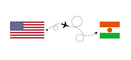 Flight and travel from USA to Niger by passenger airplane. Airplane route and country flags. Travel concept