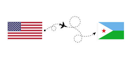 Flight and travel from USA to Djibouti by passenger airplane. Airplane route and country flags. Travel concept