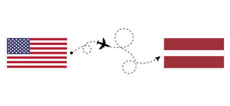 Flight and travel from USA to Latvia by passenger airplane. Airplane route and country flags. Travel concept