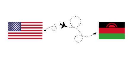 Flight and travel from USA to Malawi by passenger airplane. Airplane route and country flags. Travel concept