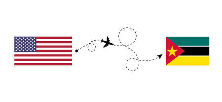 Flight and travel from USA to Mozambique by passenger airplane. Airplane route and country flags. Travel concept Illusztráció