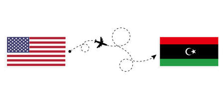 Flight and travel from USA to Libya by passenger airplane. Airplane route and country flags. Travel concept Illusztráció