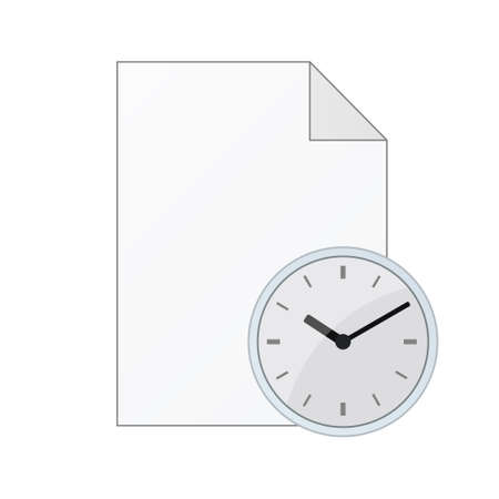 File computer document with watch icon isolated on white background. Color icon