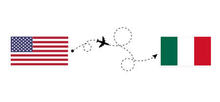Flight and travel from USA to Mexico by passenger airplane. Airplane route and country flags. Travel concept