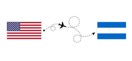 Flight and travel from USA to Nicaragua by passenger airplane. Airplane route and country flags. Travel concept
