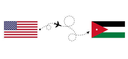 Flight and travel from USA to Jordan by passenger airplane. Airplane route and country flags. Travel concept