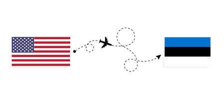 Flight and travel from USA to Estonia by passenger airplane. Airplane route and country flags. Travel concept Illusztráció