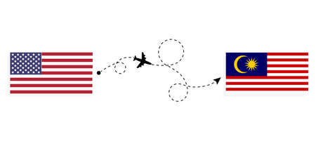 Flight and travel from USA to Malaysia by passenger airplane. Airplane route and country flags. Travel concept