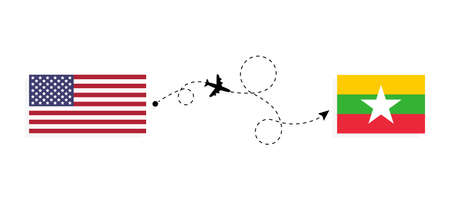 Flight and travel from USA to Myanmar by passenger airplane. Airplane route and country flags. Travel concept Illusztráció