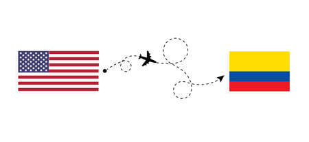 Flight and travel from USA to Ecuador by passenger airplane. Airplane route and country flags. Travel concept