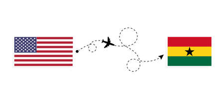 Flight and travel from USA to Ghana by passenger airplane. Airplane route and country flags. Travel concept