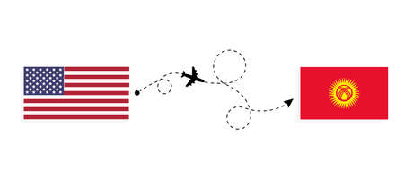 Flight and travel from USA to Kyrgyzstan by passenger airplane. Airplane route and country flags. Travel concept