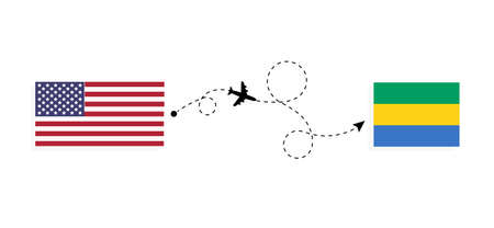 Flight and travel from USA to Gabon by passenger airplane. Airplane route and country flags. Travel concept