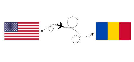 Flight and travel from USA to Moldova by passenger airplane. Airplane route and country flags. Travel concept Illusztráció