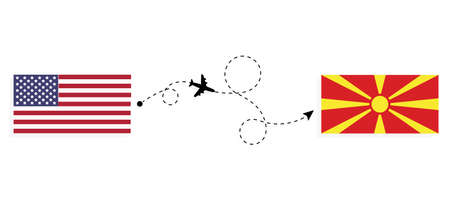 Flight and travel from USA to Macedonia by passenger airplane. Airplane route and country flags. Travel concept