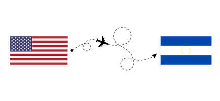 Flight and travel from USA to El Salvador by passenger airplane. Airplane route and country flags. Travel concept Illusztráció