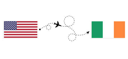 Flight and travel from USA to Ireland by passenger airplane. Airplane route and country flags. Travel concept
