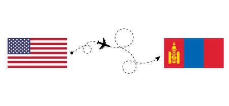 Flight and travel from USA to Mongolia by passenger airplane. Airplane route and country flags. Travel concept