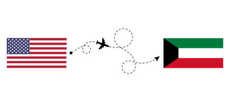 Flight and travel from USA to Kuwait by passenger airplane. Airplane route and country flags. Travel concept