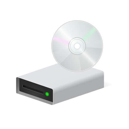 Volumetric disk drive with compact disc icon for personal computer. 3d Color icon
