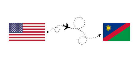 Flight and travel from USA to Namibia by passenger airplane. Airplane route and country flags. Travel concept
